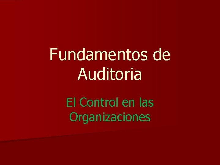 Fundamentos de Auditoria El Control en las Organizaciones