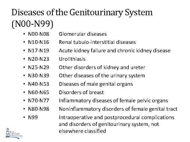 Diseases of the Genitourinary System (N 00 -N 99) • • • N 00