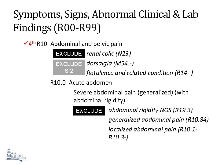 Symptoms, Signs, Abnormal Clinical & Lab Findings (R 00 -R 99) 4 th R