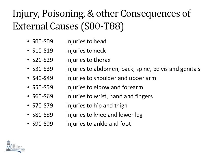 Injury, Poisoning, & other Consequences of External Causes (S 00 -T 88) • •