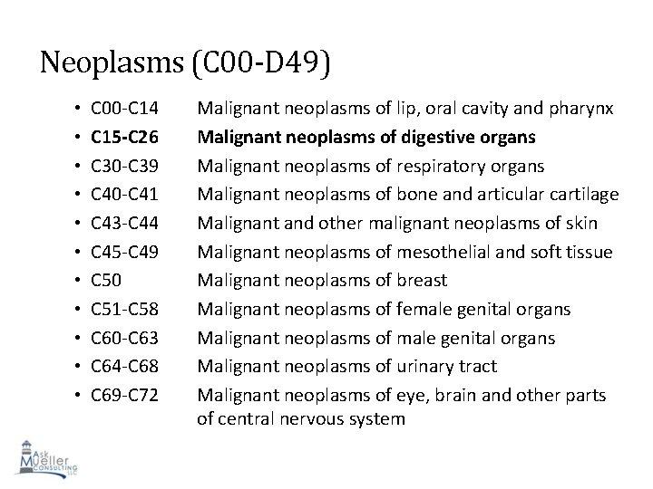 Neoplasms (C 00 -D 49) • • • C 00 -C 14 C 15