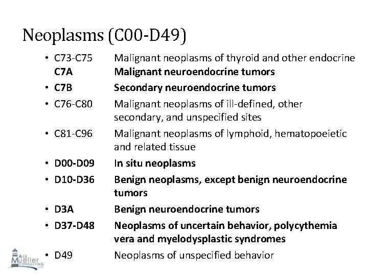 Neoplasms (C 00 -D 49) • C 73 -C 75 C 7 A •