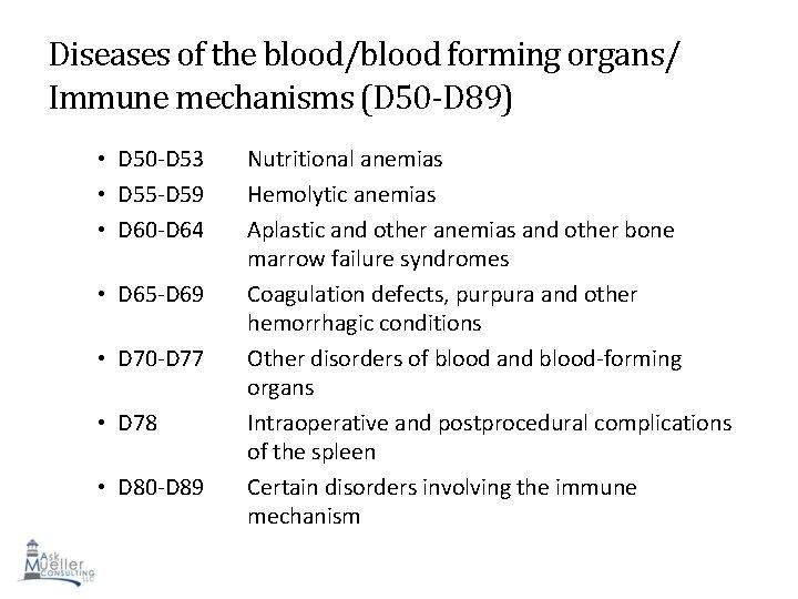 Diseases of the blood/blood forming organs/ Immune mechanisms (D 50 -D 89) • D