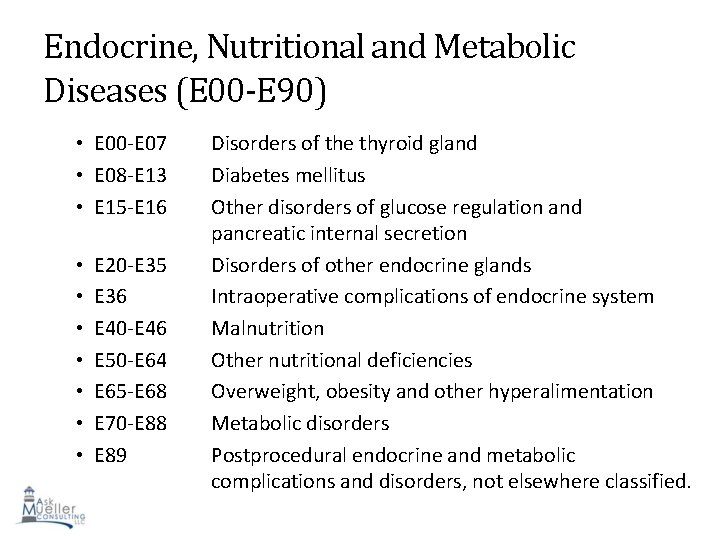 Endocrine, Nutritional and Metabolic Diseases (E 00 -E 90) • E 00 -E 07