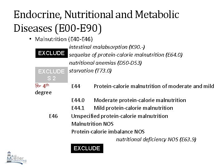 Endocrine, Nutritional and Metabolic Diseases (E 00 -E 90) • Malnutrition (E 40 -E