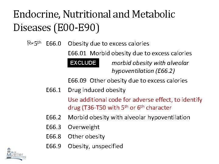 Endocrine, Nutritional and Metabolic Diseases (E 00 -E 90) 5 th E 66. 0