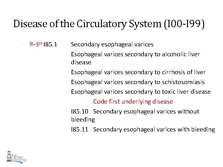 Disease of the Circulatory System (I 00 -I 99) 5 th I 85. 1