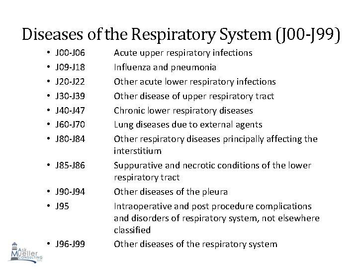 Diseases of the Respiratory System (J 00 -J 99) • • J 00 -J