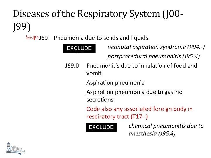 Diseases of the Respiratory System (J 00 J 99) 4 th J 69 Pneumonia