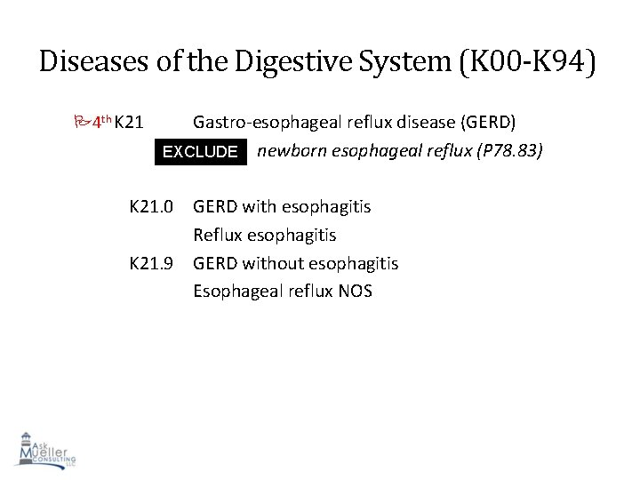 Diseases of the Digestive System (K 00 -K 94) 4 th K 21 Gastro-esophageal