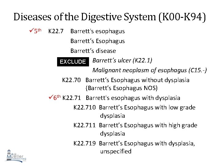 Diseases of the Digestive System (K 00 -K 94) 5 th K 22. 7