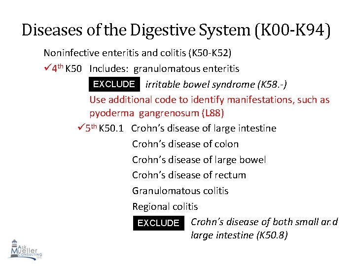 Diseases of the Digestive System (K 00 -K 94) Noninfective enteritis and colitis (K