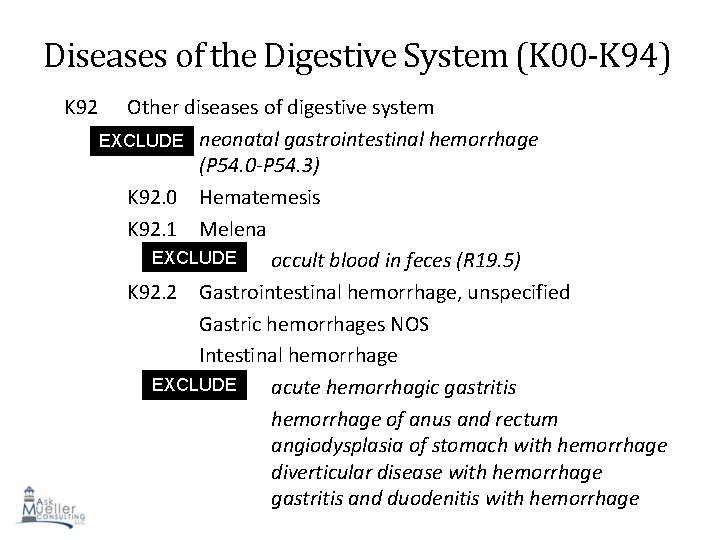 Diseases of the Digestive System (K 00 -K 94) K 92 Other diseases of