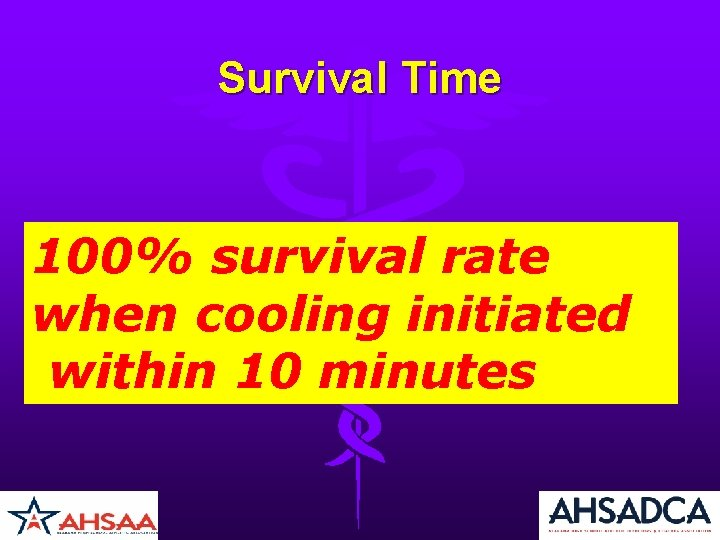Survival Time 100% survival rate when cooling initiated within 10 minutes