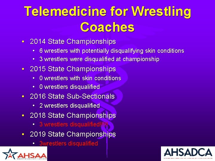 Telemedicine for Wrestling Coaches • 2014 State Championships • 6 wrestlers with potentially disqualifying
