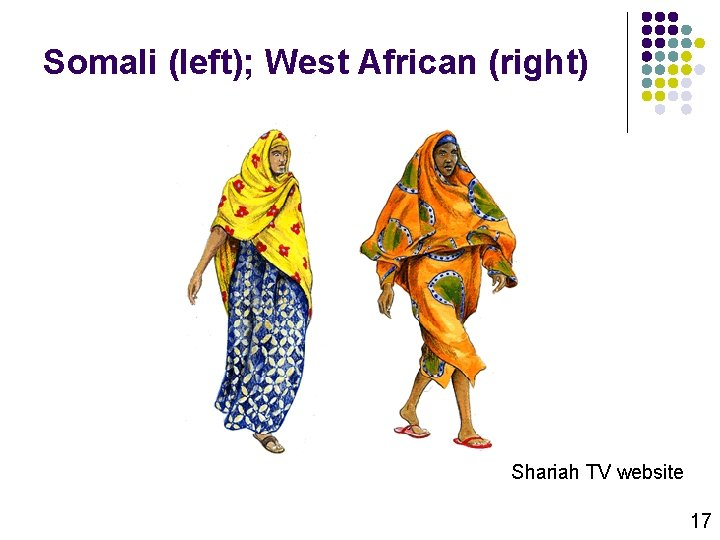 Somali (left); West African (right) Shariah TV website 17