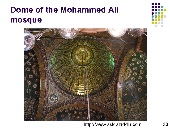 Dome of the Mohammed Ali mosque http: //www. ask-aladdin. com 33