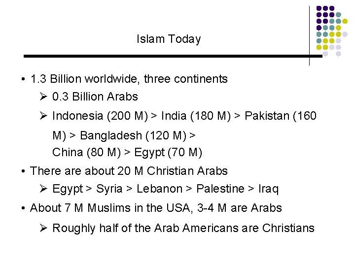Islam Today • 1. 3 Billion worldwide, three continents Ø 0. 3 Billion Arabs