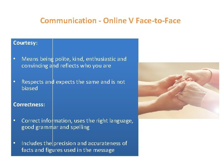 Communication - Online V Face-to-Face Courtesy: • Means being polite, kind, enthusiastic and convincing