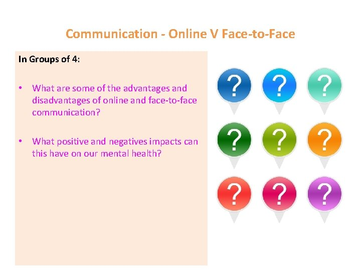 Communication - Online V Face-to-Face In Groups of 4: • What are some of