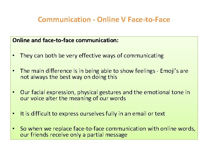 Communication - Online V Face-to-Face Online and face-to-face communication: • They can both be