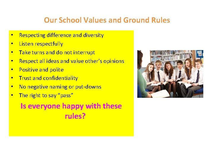 Our School Values and Ground Rules • • Respecting difference and diversity Listen respectfully