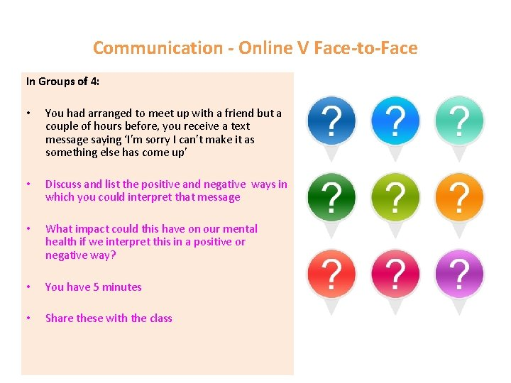 Communication - Online V Face-to-Face In Groups of 4: • You had arranged to