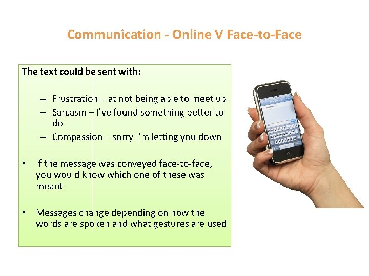 Communication - Online V Face-to-Face The text could be sent with: – Frustration –