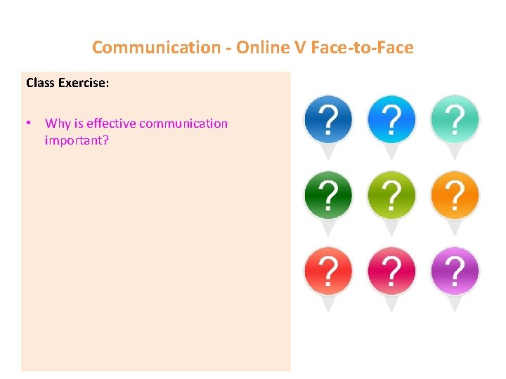 Communication - Online V Face-to-Face Class Exercise: • Why is effective communication important?
