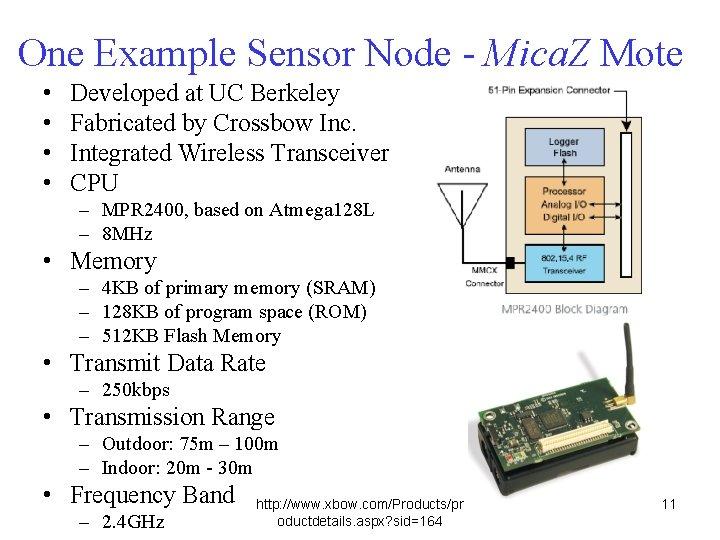 One Example Sensor Node - Mica. Z Mote • • Developed at UC Berkeley