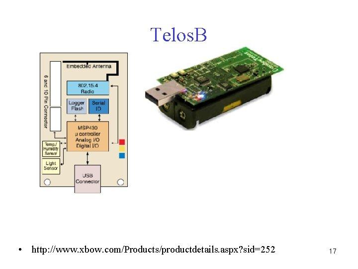 Telos. B • http: //www. xbow. com/Products/productdetails. aspx? sid=252 17