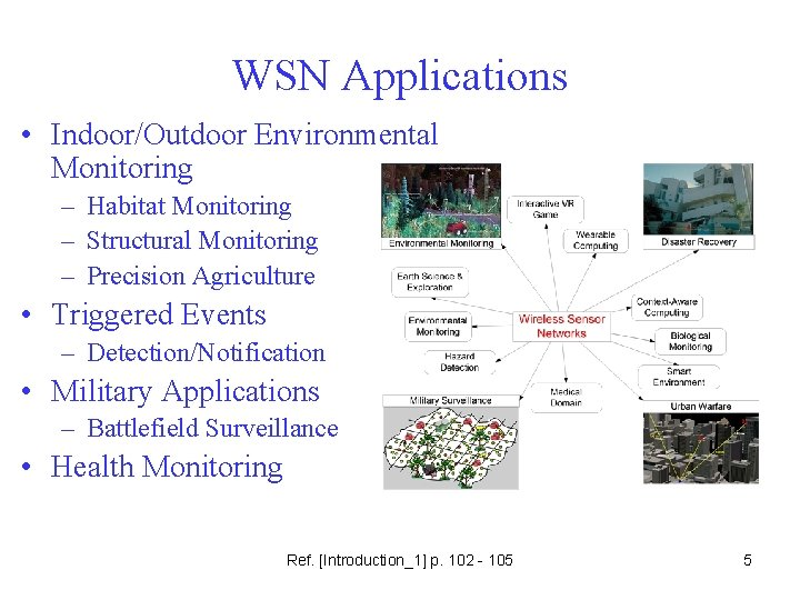 WSN Applications • Indoor/Outdoor Environmental Monitoring – Habitat Monitoring – Structural Monitoring – Precision