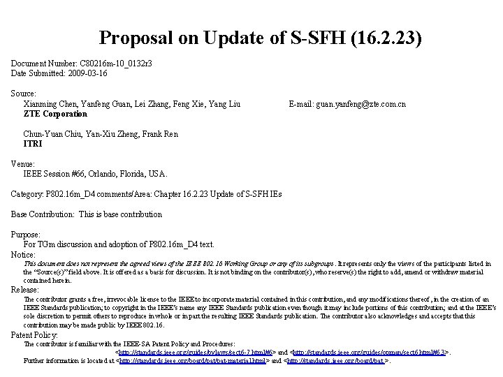 Proposal on Update of S-SFH (16. 2. 23) Document Number: C 80216 m-10_0132 r