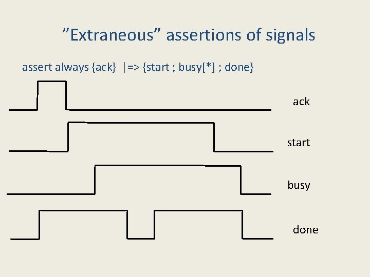 """""""Extraneous"""" assertions of signals assert always {ack} 