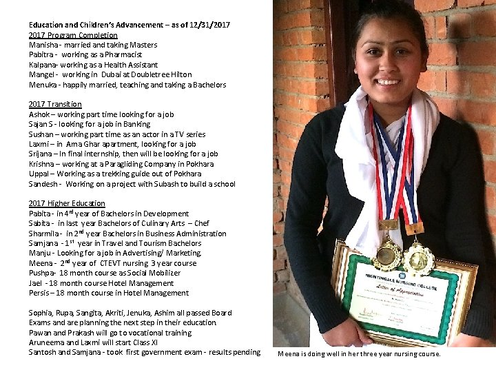Education and Children's Advancement – as of 12/31/2017 Program Completion Manisha - married and