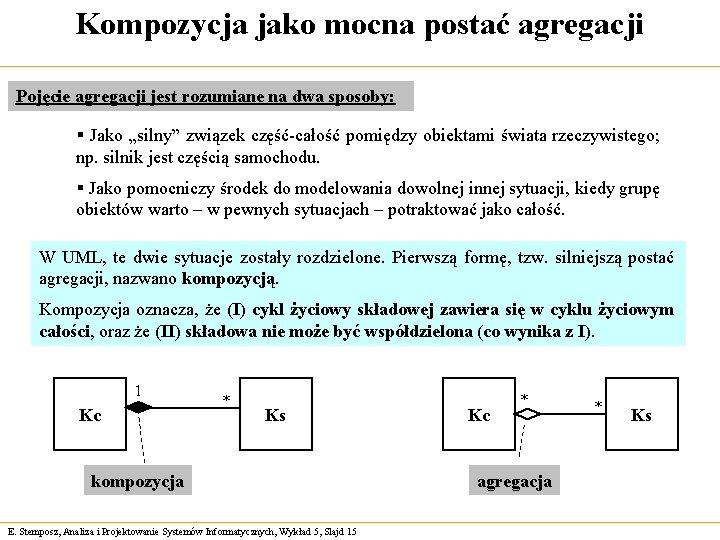 Kompozycja jako mocna postać agregacji Pojęcie agregacji jest rozumiane na dwa sposoby: § Jako