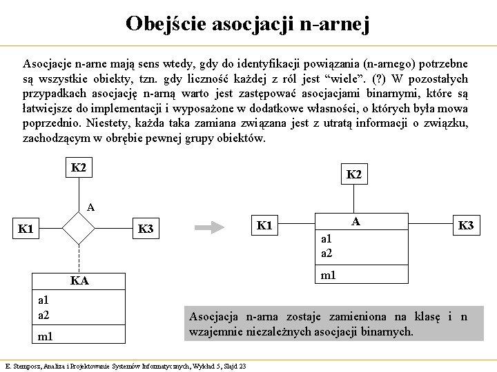 Obejście asocjacji n-arnej Asocjacje n-arne mają sens wtedy, gdy do identyfikacji powiązania (n-arnego) potrzebne