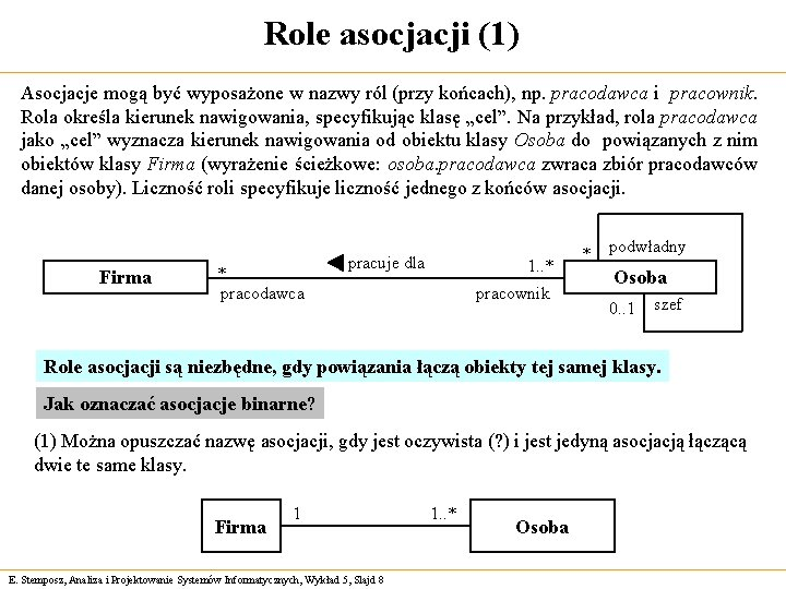 Role asocjacji (1) Asocjacje mogą być wyposażone w nazwy ról (przy końcach), np. pracodawca