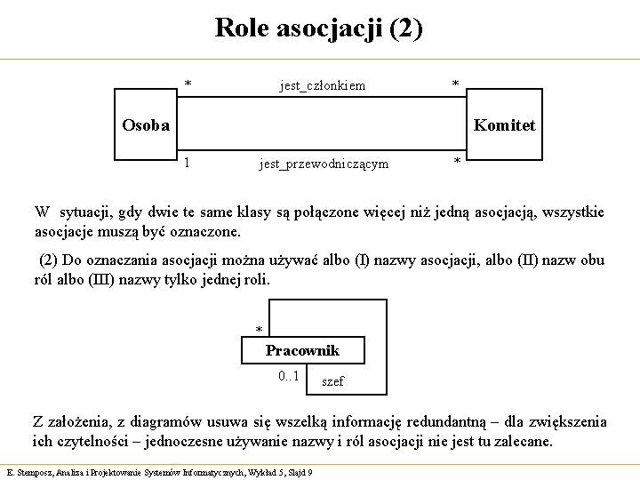 Role asocjacji (2) jest_członkiem * * Osoba Komitet 1 jest_przewodniczącym * W sytuacji, gdy