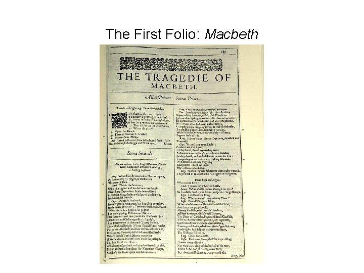 The First Folio: Macbeth