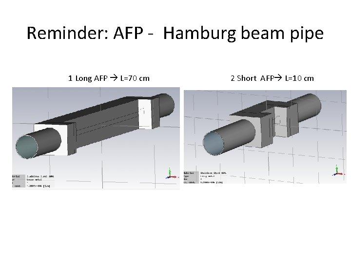 Reminder: AFP - Hamburg beam pipe 1 Long AFP L=70 cm 2 Short AFP