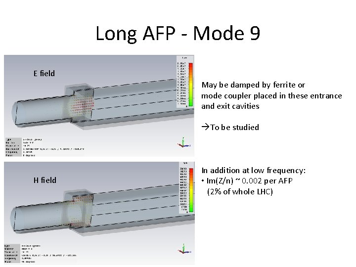 Long AFP - Mode 9 E field May be damped by ferrite or mode