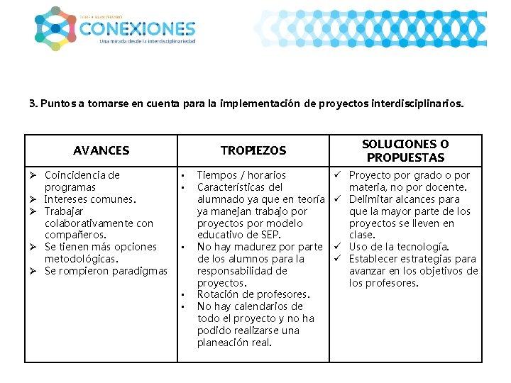 3. Puntos a tomarse en cuenta para la implementación de proyectos interdisciplinarios. AVANCES Ø