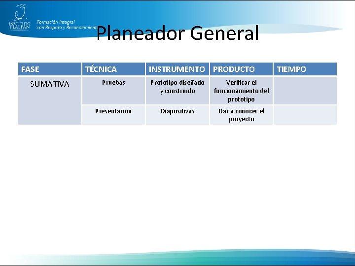 Planeador General FASE SUMATIVA TÉCNICA INSTRUMENTO PRODUCTO Pruebas Prototipo diseñado y construido Verificar el