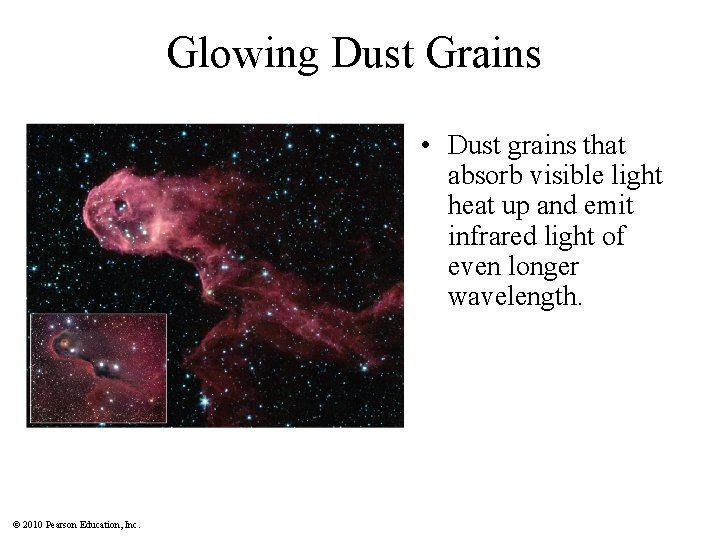 Glowing Dust Grains • Dust grains that absorb visible light heat up and emit