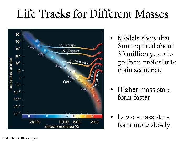 Life Tracks for Different Masses • Models show that Sun required about 30 million