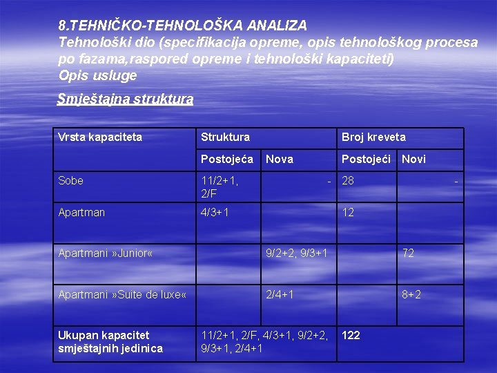 8. TEHNIČKO-TEHNOLOŠKA ANALIZA Tehnološki dio (specifikacija opreme, opis tehnološkog procesa po fazama, raspored opreme