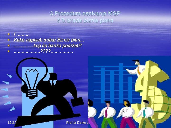 3. Procedure osnivanja MSP 3. 5. Izrada biznis plana § § I. . Kako