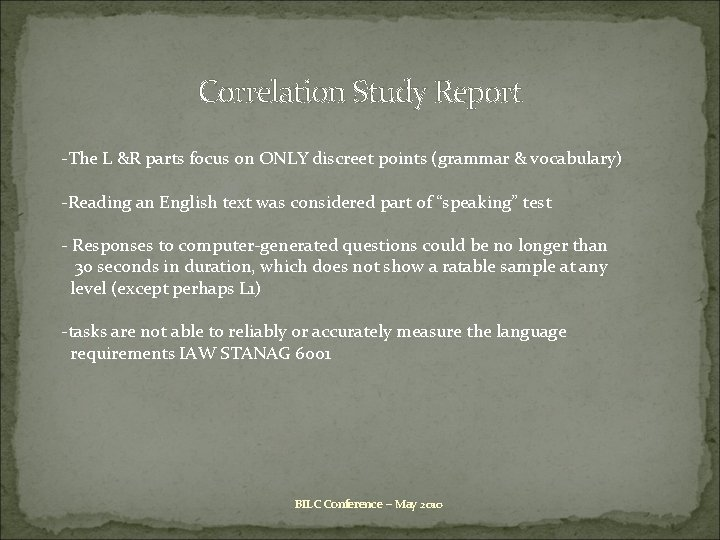 Correlati 0 n Study Report -The L &R parts focus on ONLY discreet points
