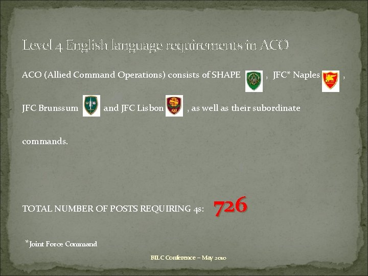Level 4 English language requirements in ACO (Allied Command Operations) consists of SHAPE JFC
